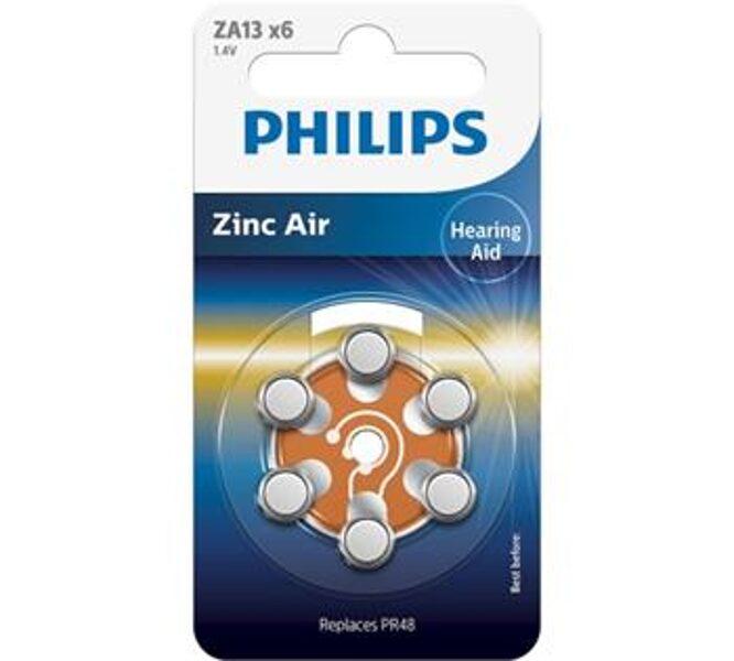 PHILIPS ZA13 dzirdes aparātu baterijas (6 gab.)