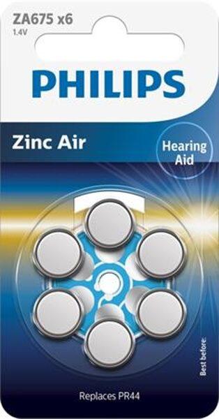 PHILIPS ZA675 dzirdes aparātu baterijas (6 gab.)