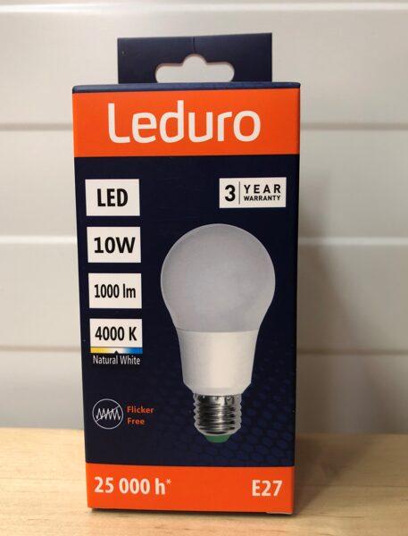10W (70W) 4000K nemirgojoša LED spuldze LEDURO A60