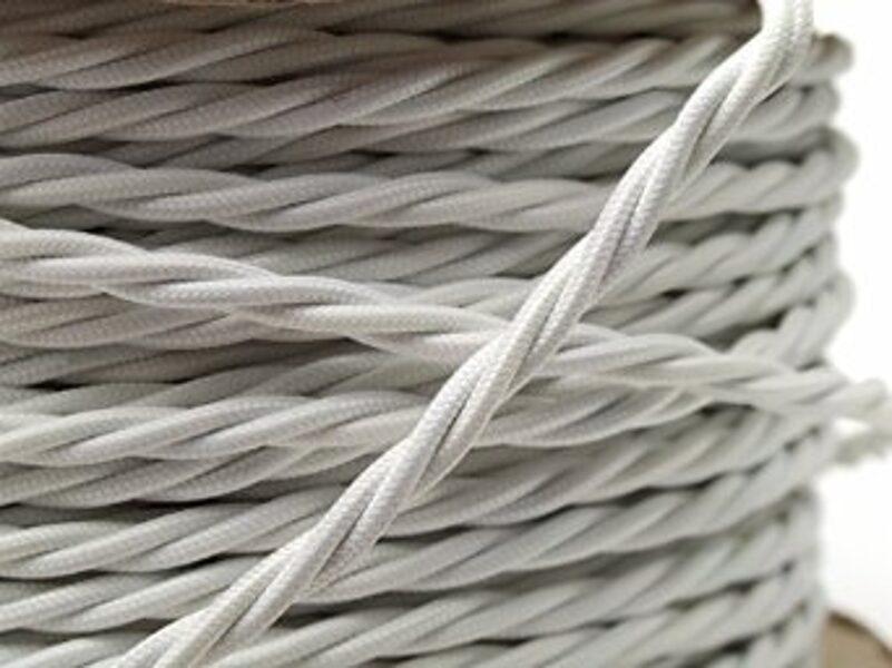 Pīts auduma retro kabelis. 2x1.5mm², balts