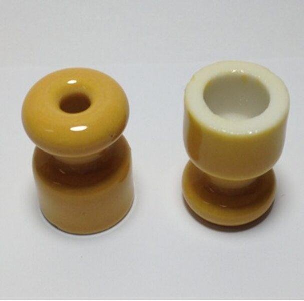 Porcelāna izolators ∅18 x 23mm, dzeltens