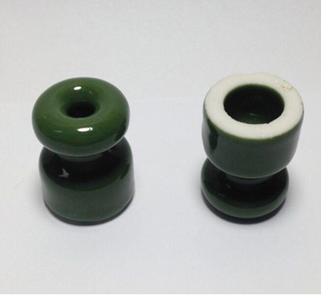 Porcelāna izolators ∅18 x 23mm, zaļš