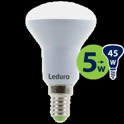 5W (45W) 3000K nemirgojoša LED spuldze LEDURO R50