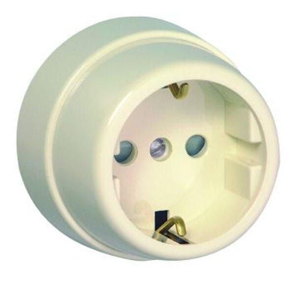 Kontaktligzda v/a, vienvietīga, ar zemējumu EFAPEL, ziloņkaula