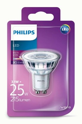 3,1W (25W) 211 lm 2700K  36° LED spuldze PHILIPS GU10