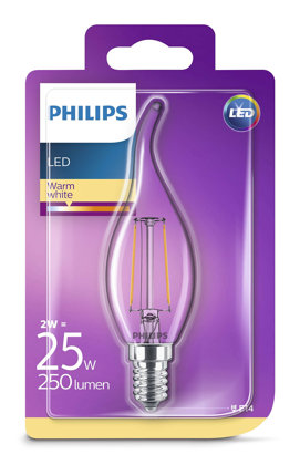 2W (25W) 2700K LED filament spuldze PHILIPS BA35