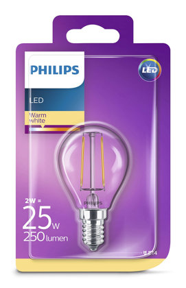 2W (25W) 2700K LED filament spuldze PHILIPS P45